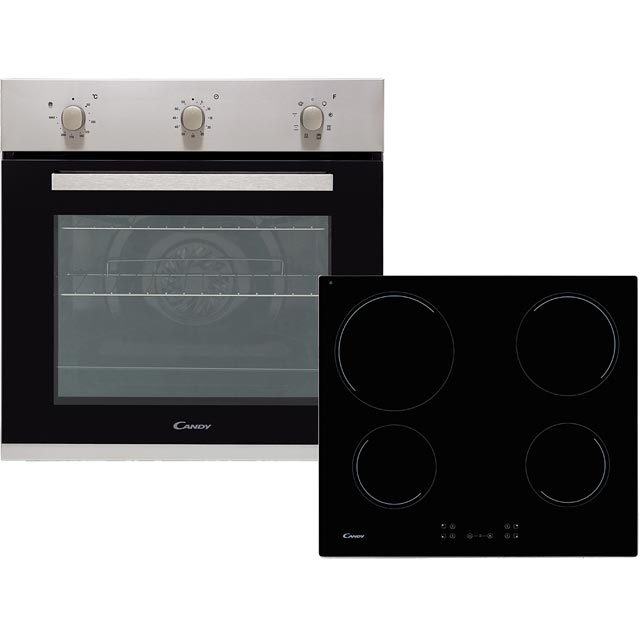 Candy CEHOPK60X/E Built In Electric Single Oven and Ceramic Hob Pack - Stainless Steel - A+ Rated