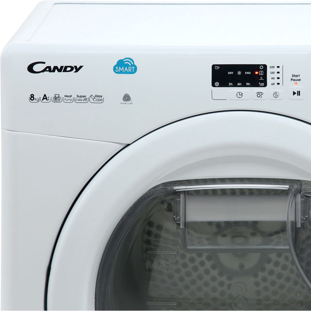 Candy Smart CSH8A2LE 8Kg Heat Pump Tumble Dryer - White - A++ Rated - CSH8A2LE_WH - 2