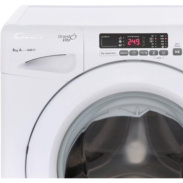 Candy Grand'O Vita GVS168D3 8Kg Washing Machine with 1600 rpm - White -  A+++ Rated