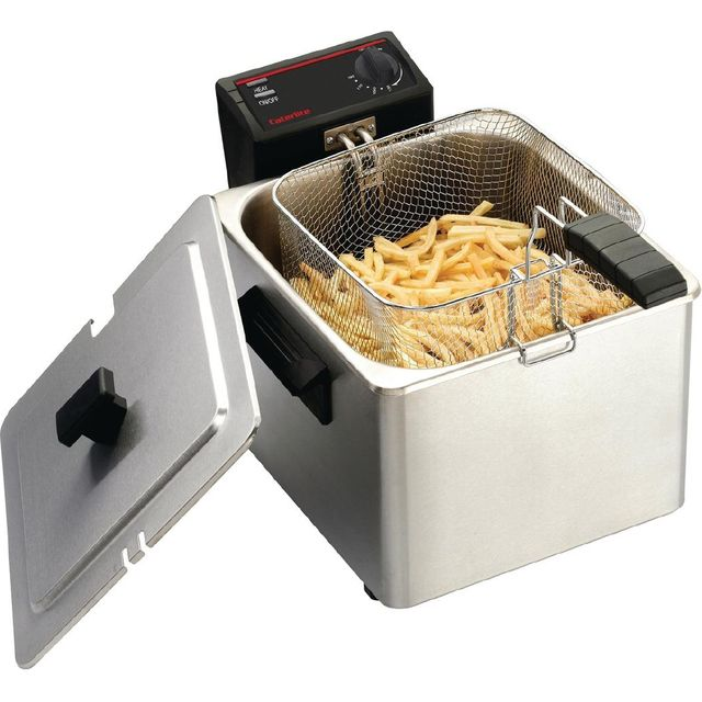 Caterlite Light Duty Single Tank Single Basket CD274 Commercial Fryer - Stainless Steel