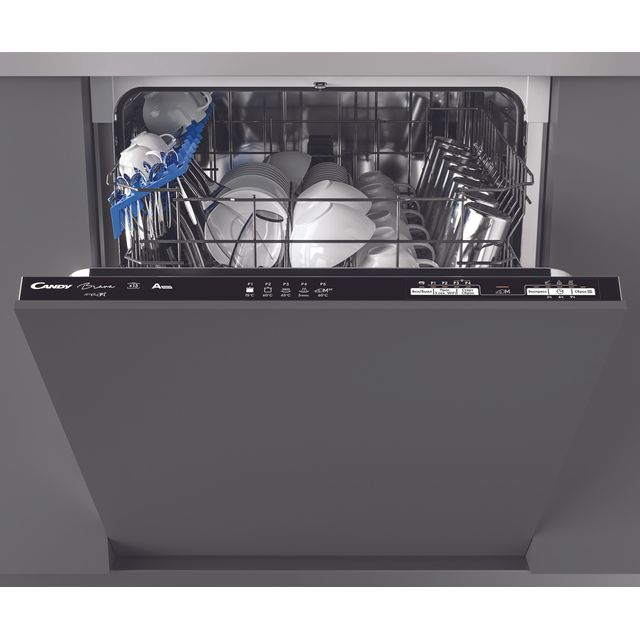 Candy Brava CDIN1L380PB Wifi Connected Fully Integrated Standard Dishwasher - Black Control Panel with Fixed Door Fixing Kit