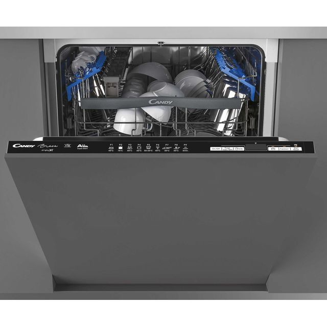 Candy Brava CDIN2D620PB Wifi Connected Fully Integrated Standard Dishwasher - Black Control Panel with Fixed Door Fixing Kit - A+ Rated