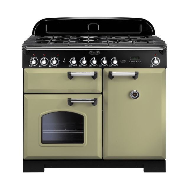 Rangemaster Classic Deluxe CDL100DFFOG/C 100cm Dual Fuel Range Cooker - Olive Green - A/A Rated - CDL100DFFOG/C_OG - 1
