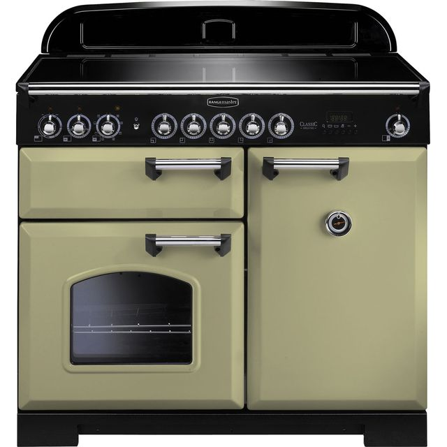 Rangemaster Classic Deluxe 100cm Electric Range Cooker with Induction Hob - Olive Green - A Rated