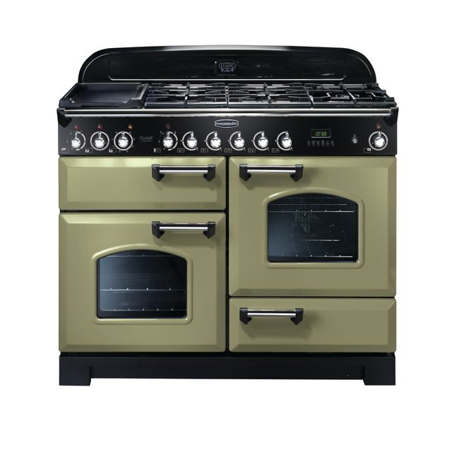 Rangemaster Classic Deluxe CDL110DFFOG/C 110cm Dual Fuel Range Cooker - Olive Green - A Rated - CDL110DFFOG/C_OG - 1