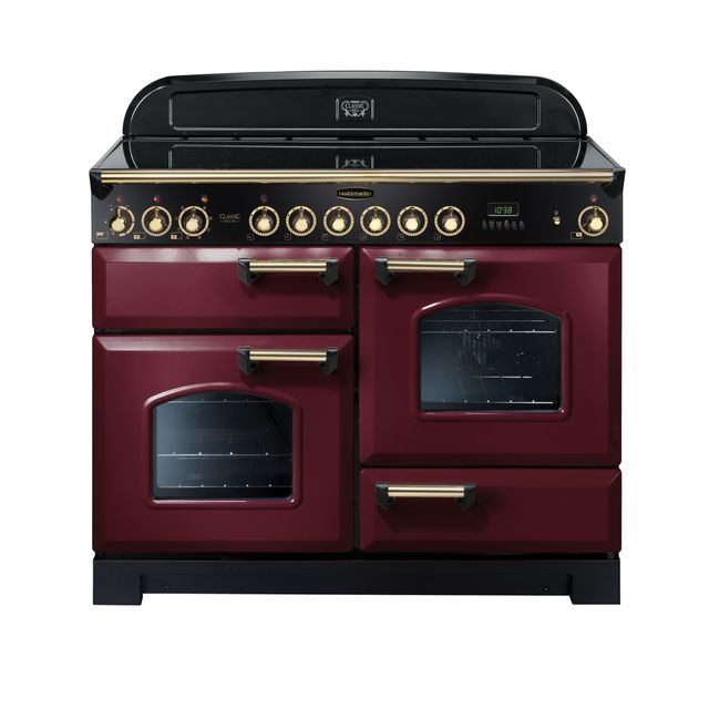 Rangemaster Classic Deluxe CDL110ECCY/B 110cm Electric Range Cooker with Ceramic Hob - Cranberry / Brass - A/A Rated