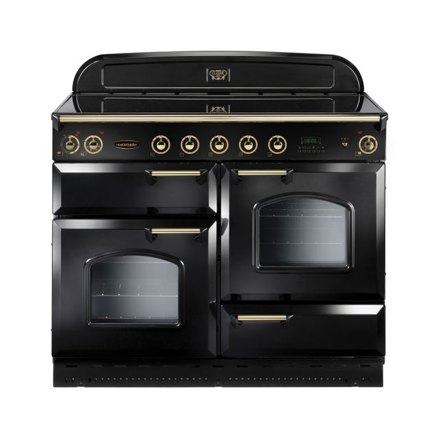 Rangemaster Classic Deluxe 110cm Electric Range Cooker with Induction Hob - Black / Brass - A Rated