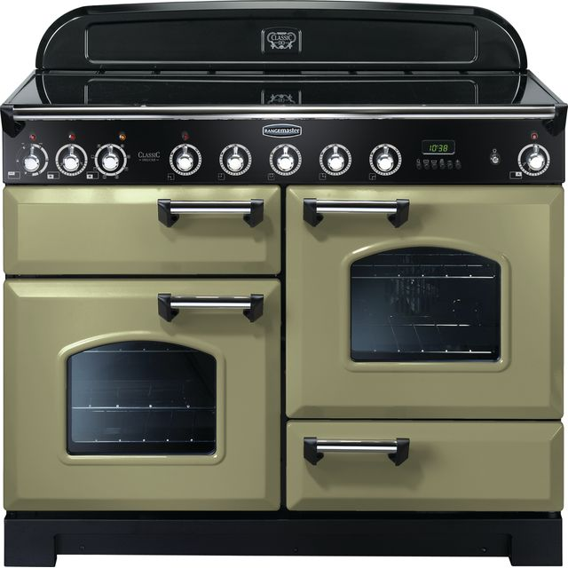 Rangemaster Classic Deluxe CDL110EIOG/C 110cm Electric Range Cooker with Induction Hob - Olive Green - A/A Rated - CDL110EIOG/C_OG - 1