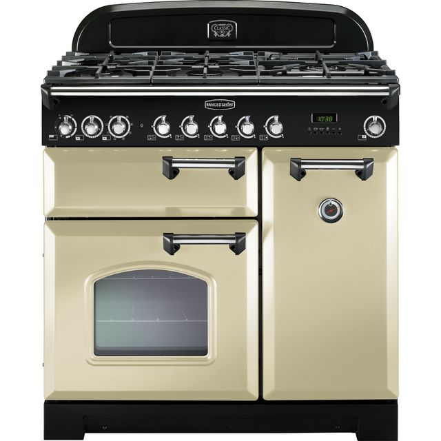 Rangemaster Classic Deluxe 90cm Dual Fuel Range Cooker - Cream / Chrome - A Rated