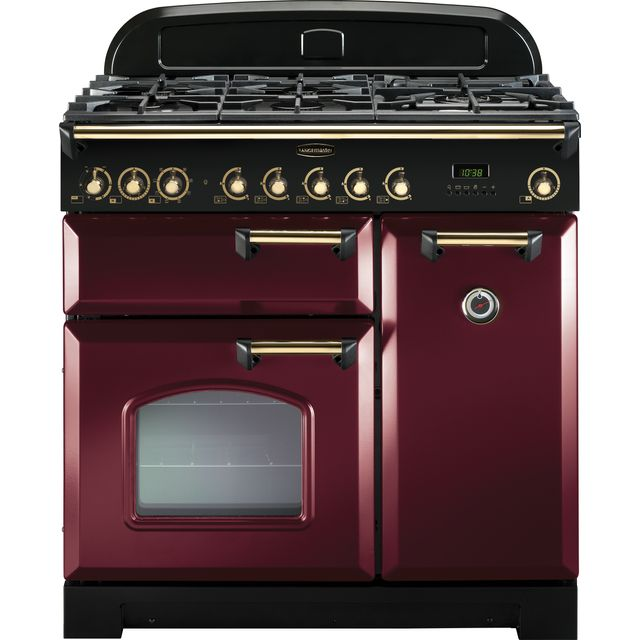 Rangemaster Classic Deluxe CDL90DFFCY/B 90cm Dual Fuel Range Cooker - Cranberry / Brass - A Rated - CDL90DFFCY/B_CY - 1