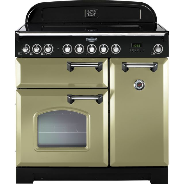 Rangemaster Classic Deluxe CDL90ECOG/C 90cm Electric Range Cooker with Ceramic Hob - Olive Green - A/A Rated - CDL90ECOG/C_OG - 1