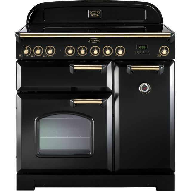 Rangemaster Classic Deluxe 90cm Electric Range Cooker with Induction Hob - Black / Brass - A/A Rated