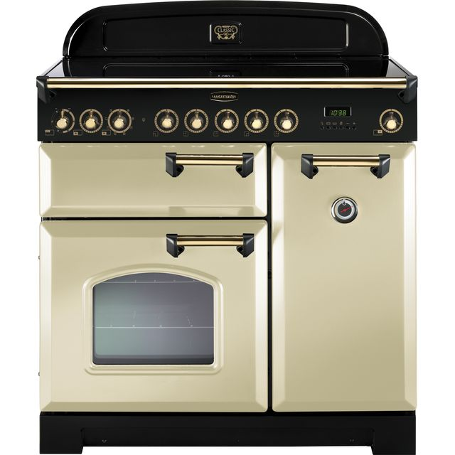 Rangemaster Classic Deluxe 90cm Electric Range Cooker with Induction Hob - Cream / Brass - A/A Rated