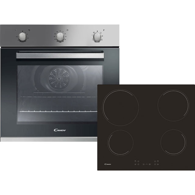 Candy CEHOPK60X Built In Electric Single Oven and Ceramic Hob Pack - Stainless Steel / Black - A Rated