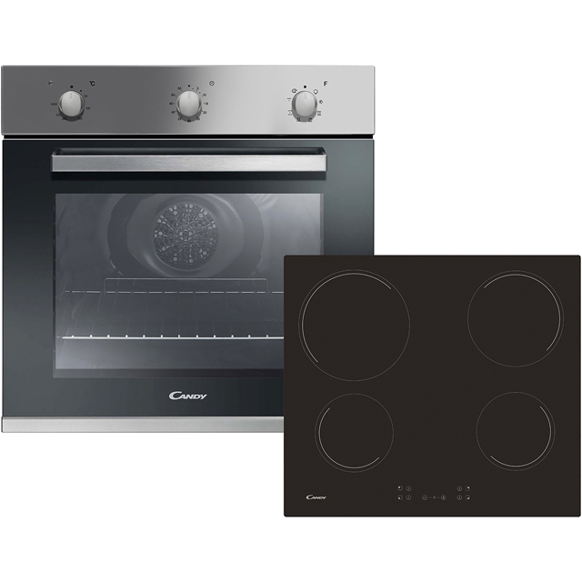 Candy CEHOPK60X/E Built In Electric Single Oven and Ceramic Hob Pack - Stainless Steel - A+ Rated - CEHOPK60X/E_SS - 1