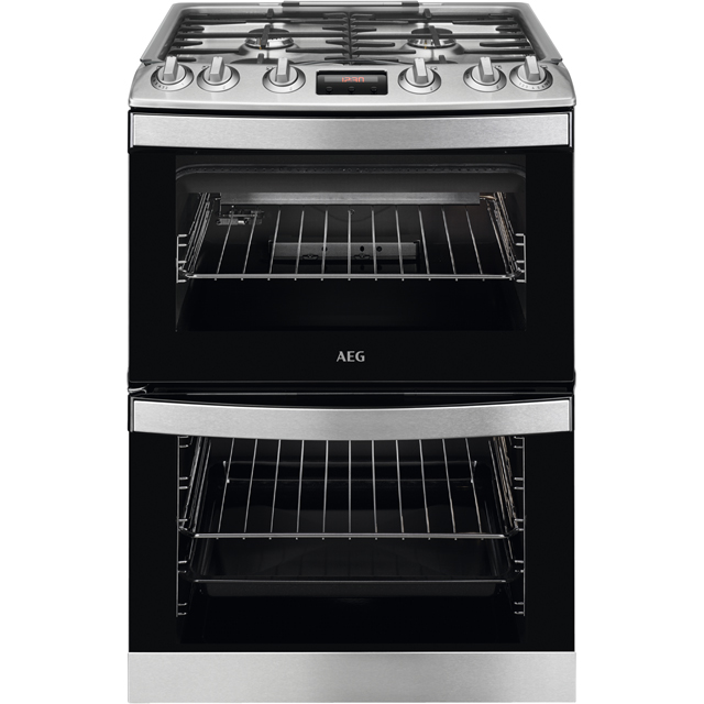 AEG CGB6133CCM 60cm Gas Cooker with Full Width Electric Grill - Stainless Steel - A/A Rated
