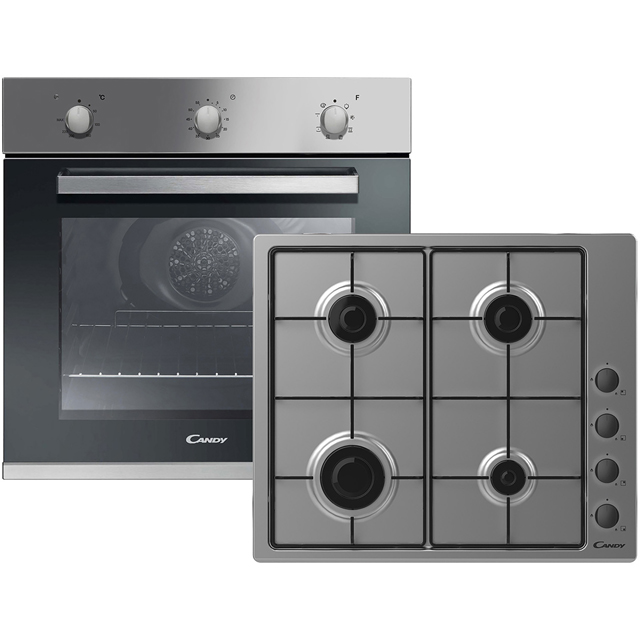 Candy CGHOPK60X/E Built In Electric Single Oven and Gas Hob Pack - Stainless Steel - A+ Rated - CGHOPK60X/E_SS - 1
