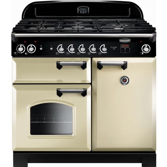 Rangemaster Classic CLA100DFFCR/C 100cm Dual Fuel Range Cooker - Cream / Chrome - A/A Rated - CLA100DFFCR/C_CR - 1