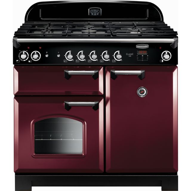 Rangemaster CLA100DFFCY/C Classic 100cm Dual Fuel Range Cooker - Cranberry / Chrome - CLA100DFFCY/C_CY - 1