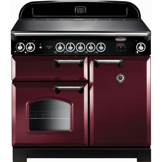 Rangemaster Classic 100cm Electric Range Cooker with Induction Hob - Cranberry / Chrome - A/A Rated