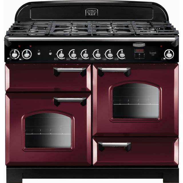 Rangemaster Classic CLA110DFFCY/C 110cm Dual Fuel Range Cooker - Cranberry / Chrome - A/A Rated - CLA110DFFCY/C_CY - 1