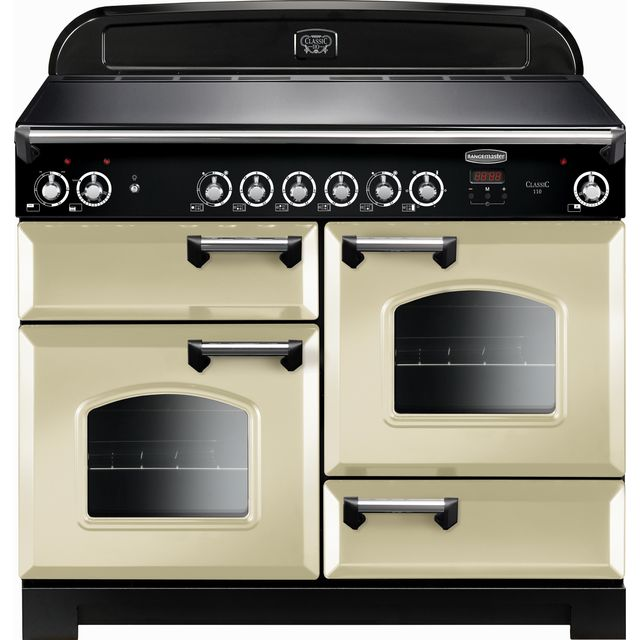 Rangemaster Classic CLA110ECCR/C 110cm Electric Range Cooker with Ceramic Hob - Cream / Chrome - A/A Rated - CLA110ECCR/C_CR - 1