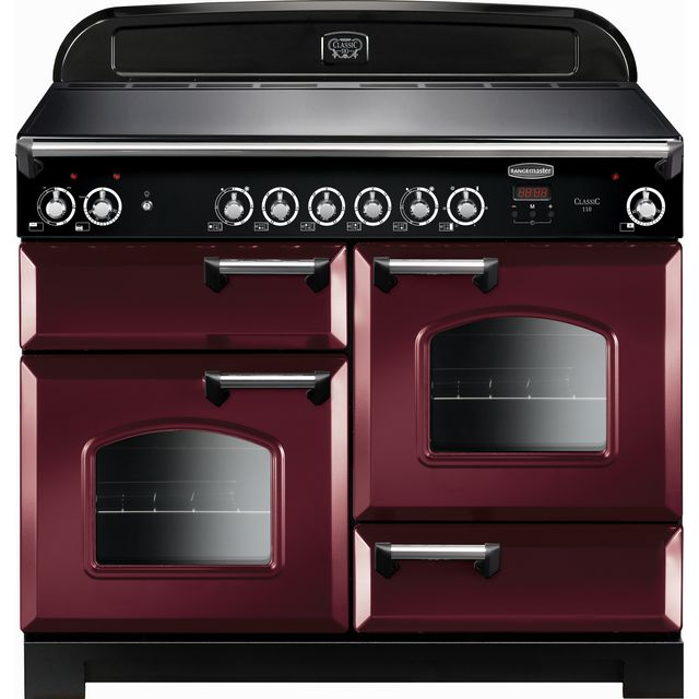 Rangemaster Classic 110cm Electric Range Cooker with Ceramic Hob - Cranberry / Chrome - A/A Rated