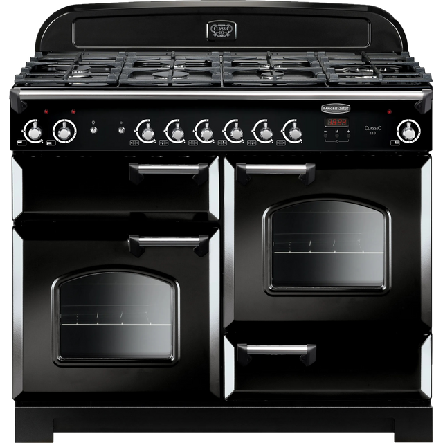Rangemaster Classic CLA110NGFBL/C 110cm Gas Range Cooker - Black / Chrome - A+/A+ Rated