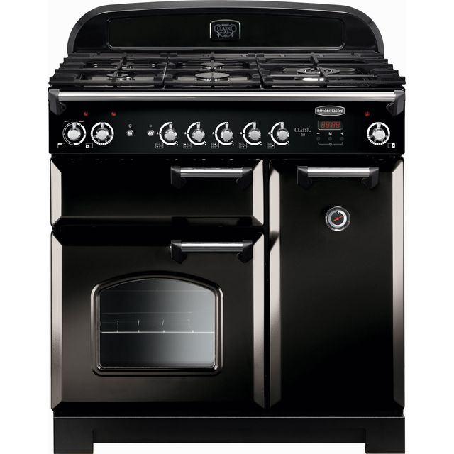 Rangemaster Classic 90cm Dual Fuel Range Cooker - Black / Chrome - A/A Rated