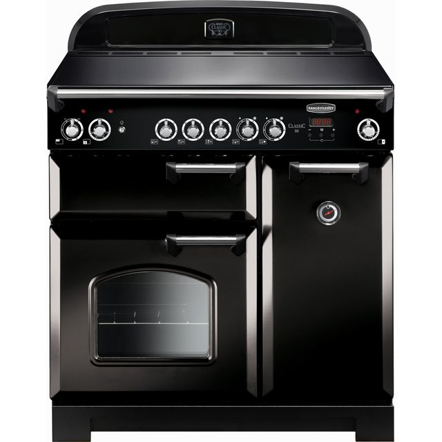 Rangemaster Classic 90cm Electric Range Cooker with Ceramic Hob - Black / Chrome - A/A Rated