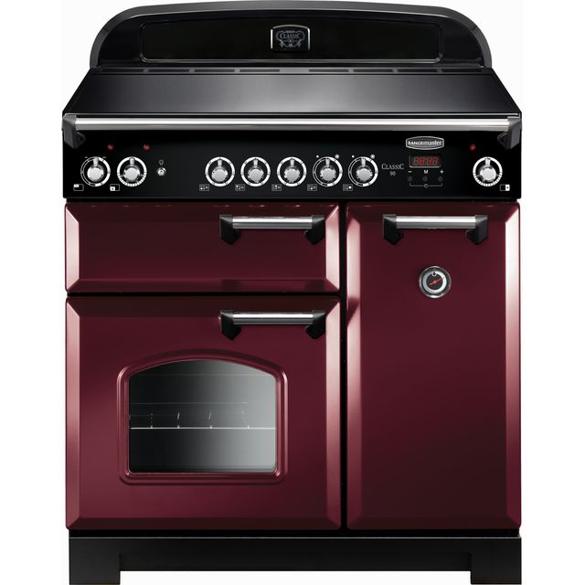 Rangemaster Classic CLA90ECCY/C 90cm Electric Range Cooker with Ceramic Hob - Cranberry / Chrome - A/A Rated - CLA90ECCY/C_CY - 1