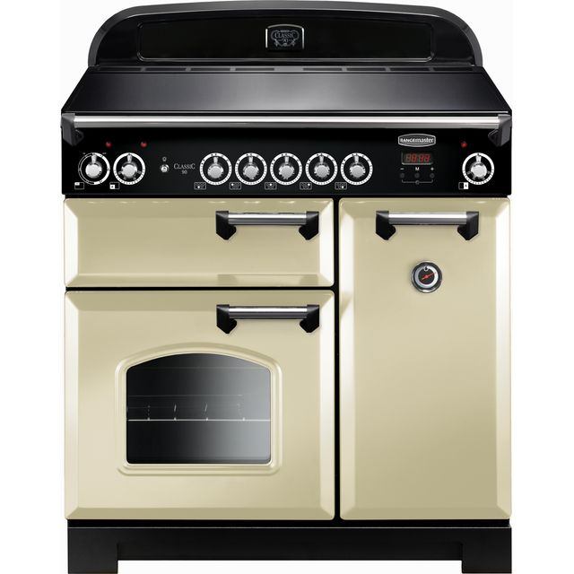 Rangemaster Classic 90cm Electric Range Cooker with Induction Hob - Cream / Chrome - A/A Rated