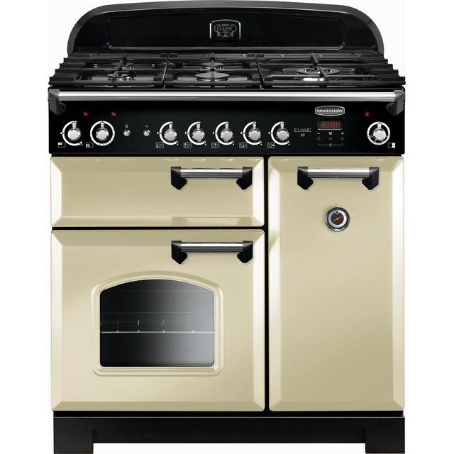 Rangemaster Classic CLA90NGFCR/C 90cm Gas Range Cooker with Electric Fan Oven - Cream / Chrome - A+/A Rated - CLA90NGFCR/C_CR - 1