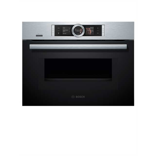 Bosch Serie 8 CMG676BS6B Wifi Connected Built In Compact Electric Single Oven with Microwave Function - Brushed Steel