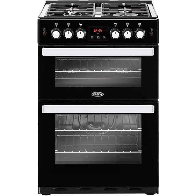 Belling Cookcentre 60G Gas Cooker with Full Width Electric Grill - Black - A+/A Rated