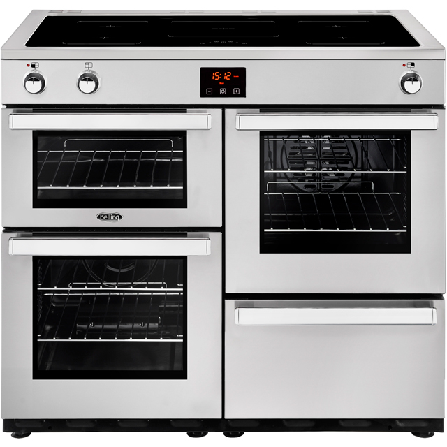 Belling Cookcentre100Ei Prof 100cm Electric Range Cooker with Induction Hob - Stainless Steel - A/A Rated - Cookcentre100Ei Prof_SS - 1