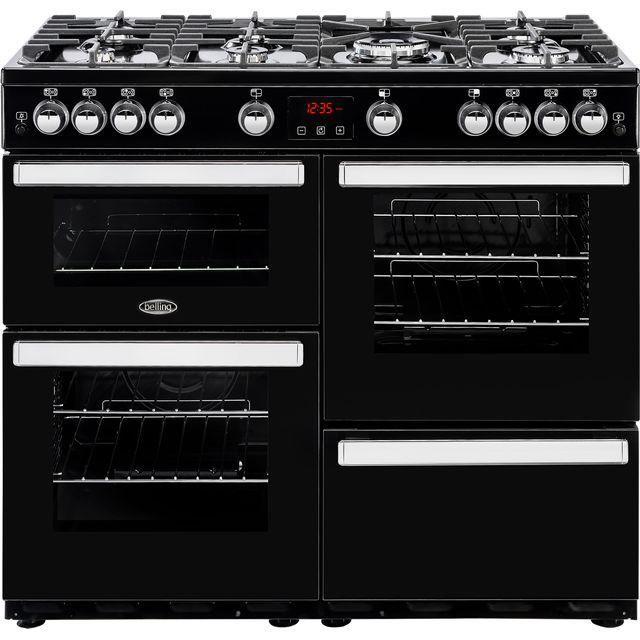 belling 100cm gas range cooker black