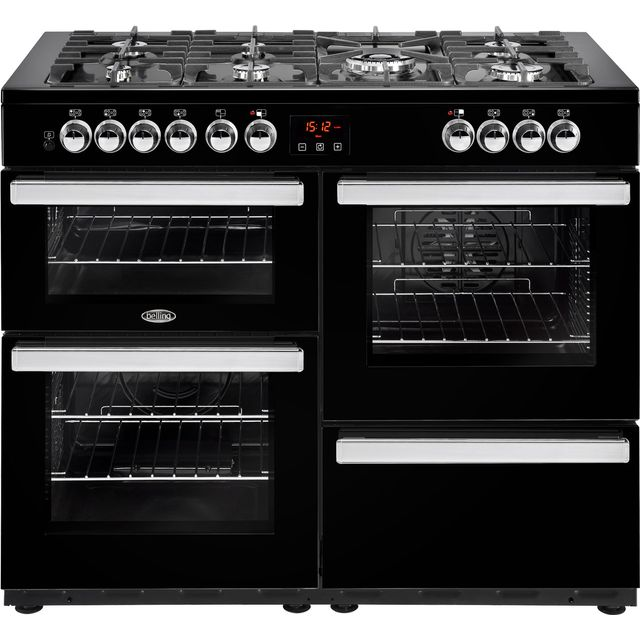 Belling Cookcentre110DFT 110cm Dual Fuel Range Cooker - Black - Cookcentre110DFT_BK - 1