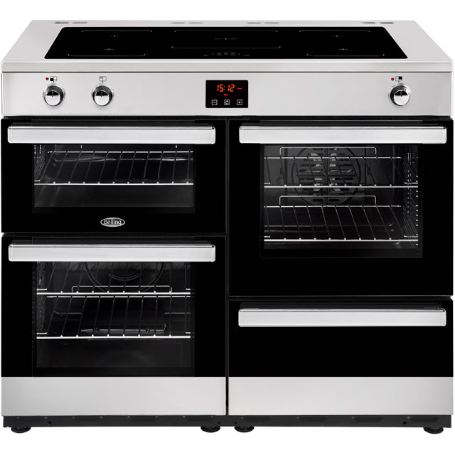 Belling Cookcentre100Ei 100cm Electric Range Cooker with Induction Hob - Stainless Steel - A/A Rated - Cookcentre100Ei_SS - 1