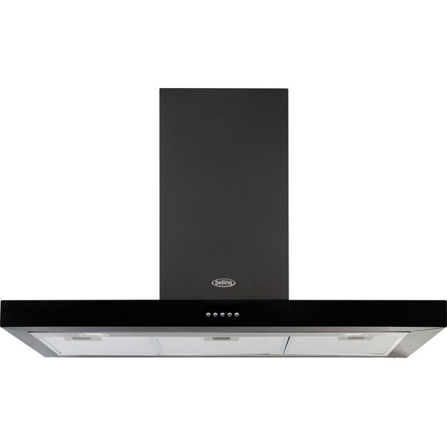 Belling COOKCENTRE 110 FLAT 110 cm Chimney Cooker Hood - Black - D Rated - COOKCENTRE 110 FLAT_BK - 1