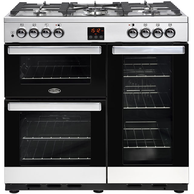 Belling Cookcentre90DFT 90cm Dual Fuel Range Cooker - Stainless Steel