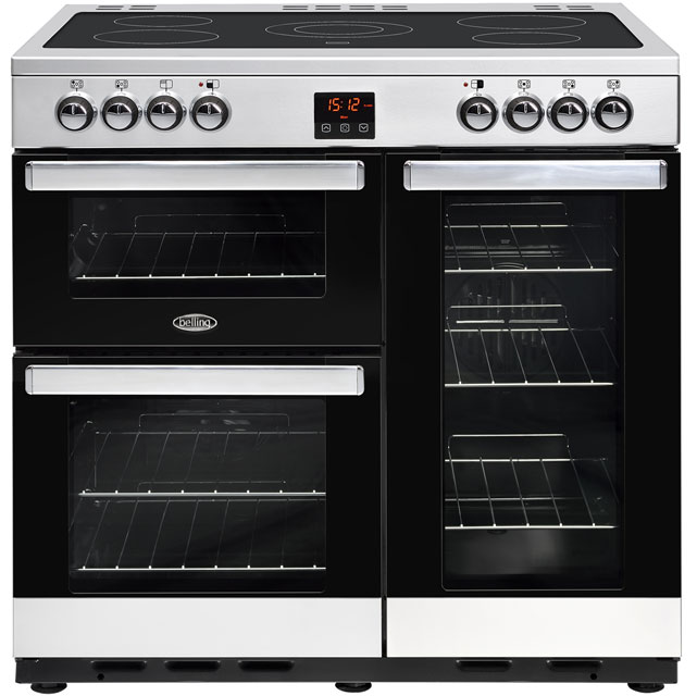 Belling Cookcentre90E 90cm Electric Range Cooker with Ceramic Hob - Stainless Steel