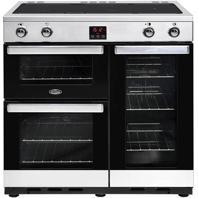 Belling Cookcentre90Ei 90cm Electric Range Cooker with Induction Hob - Stainless Steel - A/A Rated - Cookcentre90Ei_SS - 1