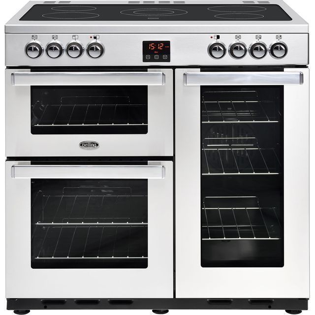 Belling 90cm Electric Range Cooker with Ceramic Hob - Stainless Steel - A/A Rated