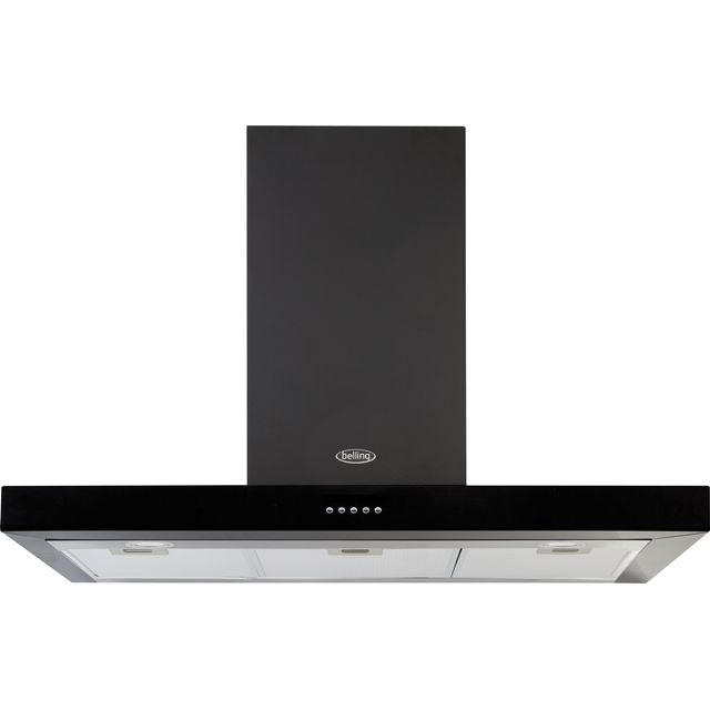 Belling COOKCENTRE 90 FLAT 90 cm Chimney Cooker Hood - Black - D Rated - COOKCENTRE 90 FLAT_BK - 1