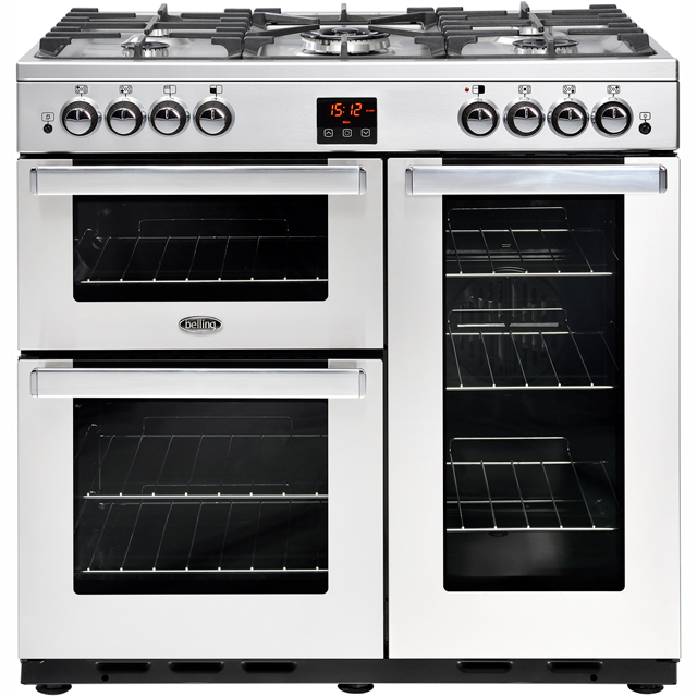 Belling Cookcentre90G 90cm Gas Range Cooker with Electric Fan Oven - Stainless Steel - A/A Rated - Cookcentre90G_SS - 1