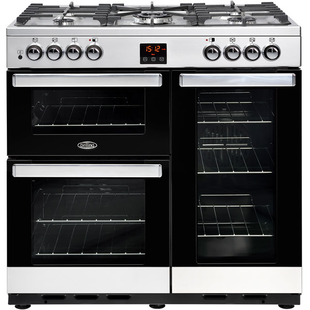 Belling Cookcentre90G 90cm Gas Range Cooker with Electric Fan Oven - Stainless Steel - B/A Rated - Cookcentre90G_SS - 1
