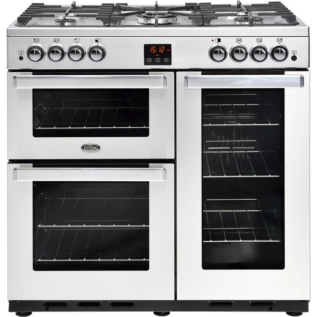 Belling Cookcentre90GProf 90cm Gas Range Cooker with Electric Fan Oven - Stainless Steel - A/A Rated - Cookcentre90GProf_SS - 1