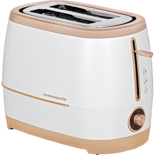Beko TAM8202W Cosmopolis 2 Slice Toaster White/Rose Gold