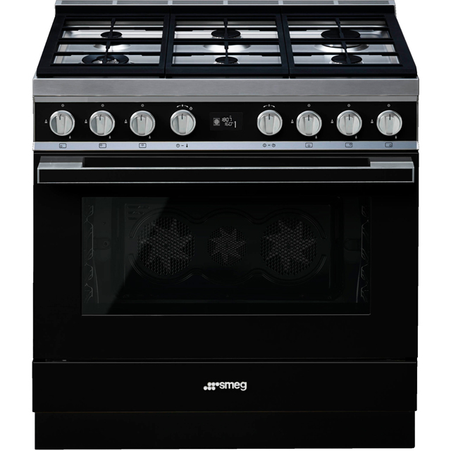 Smeg Portofino 90cm Dual Fuel Range Cooker - Black - A+ Rated